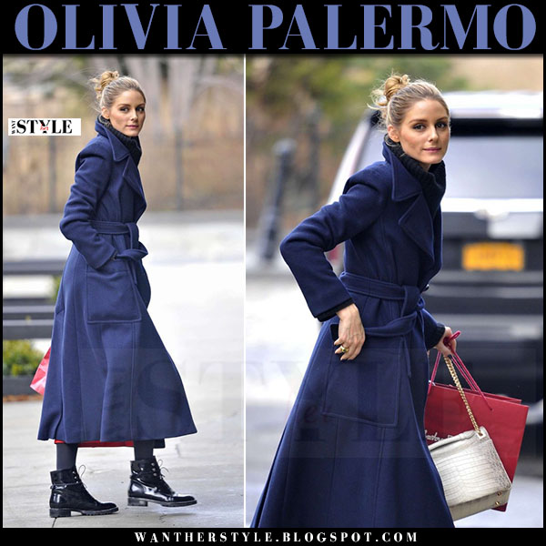 Olivia Palermo in navy blue wool coat max mara and black patent ankle boots dior rebelle what she wore winter style