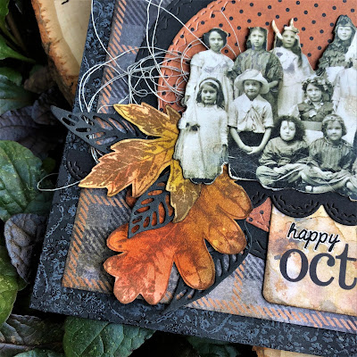 Sara Emily Barker https://sarascloset1.blogspot.com/2018/10/happy-october.html Tim Holtz Stampers Anonymous Sizzix Alterations Ideaology Halloween Autumn Card 4