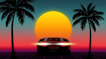 Sunset, Minimalist, Sports Car, Palm, Scenery, 4K, #6.2191