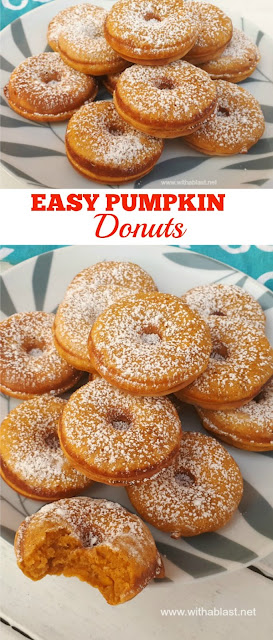 Easy Pumpkin Donuts are the perfect Fall sweet treats and unbelievably easy to make too (Recipe for Homemade Pumpkin Spice included) #PumpkinDonuts #EasyDonuts #FallTreats #PumpkinSpice