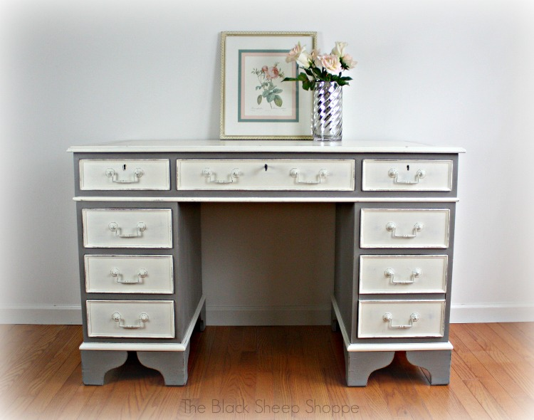 Vintage desk painted in ASCP French Linen and Old White.
