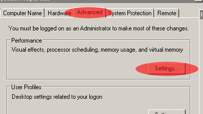 windows advance virtual setting