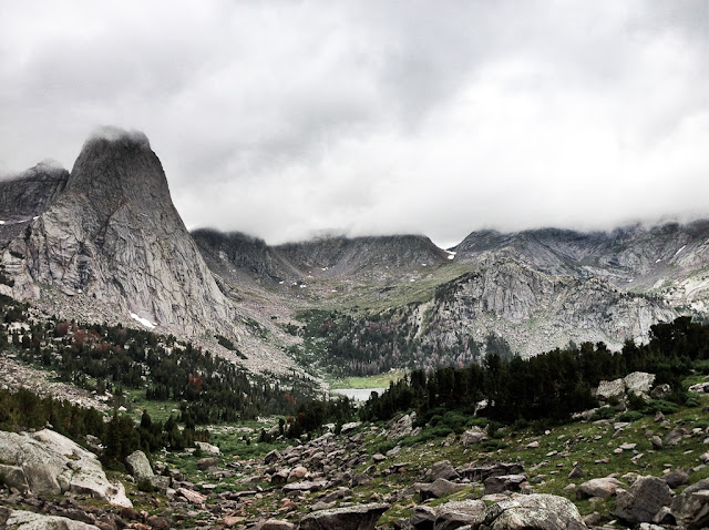 The Cirque of the Towers in the Wind River Range of Wyoming. Looking towards Pingora