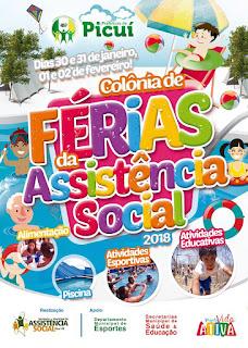 Picuí realiza colônia de férias da Assistência Social 2018; veja programação