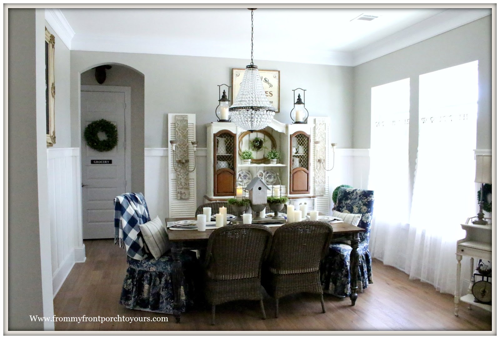 French Country Farmhouse Dining Room Floral Parson Chairs Mia Chandelier Pottery Barn