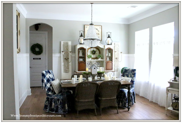 French Country Farmhouse-Dining Room-Floral Parson Chairs-Mia Chandelier-Pottery Barn-Buffalo Check-French Farmhouse-French Sconces-From My Front Porch To Yours