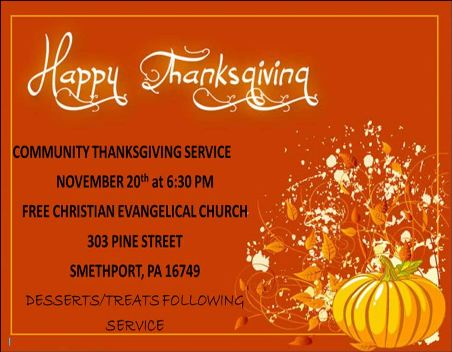 11-20 Communiuty Thanksgiving Service, Smethport, PA