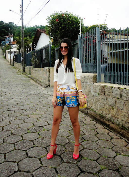 Look do Dia - Short Estampa de lenço