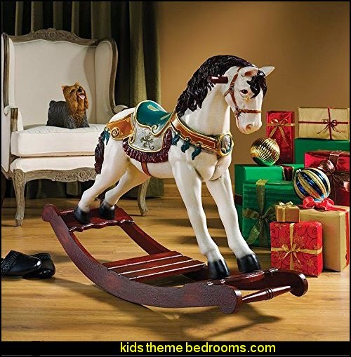 Victorian Carousel Pony Rocking Horse Statue  carousel theme bedroom ideas - carousel bedroom set - carousel horse theme girls bedrooms - carousel horse decor -  carousel merry go round wall decals - carousel theme baby bedrooms - girls bedrooms theme - carousel horse nursery theme - carousel themed nursery - Carousel  animals Wall Stencils