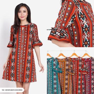 dress natal batik 2018, baju batik natal 2018