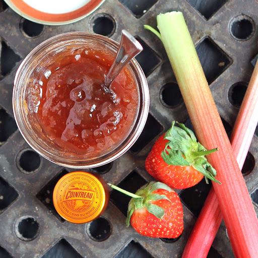 Rhubarb, Strawberry and Cointreau Jam in a jar