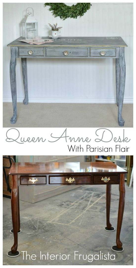 Queen Anne Desk Makeover Before and After