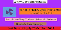 Variable Energy Cyclotron Centre Recruitment 2017– 43 Stipendiary Trainees, Scientific Assistant