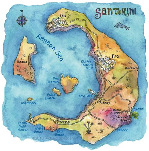 Santorini Ilustrated Map - Ioanna's Notebook