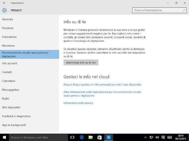Windows 10, Privacy - Riconoscimento vocale, input penna e digitazione