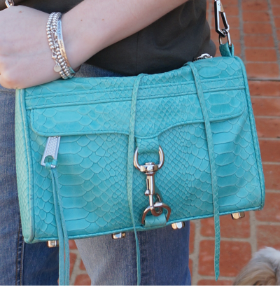 Rebecca Minkoff python aqua mini mac bag