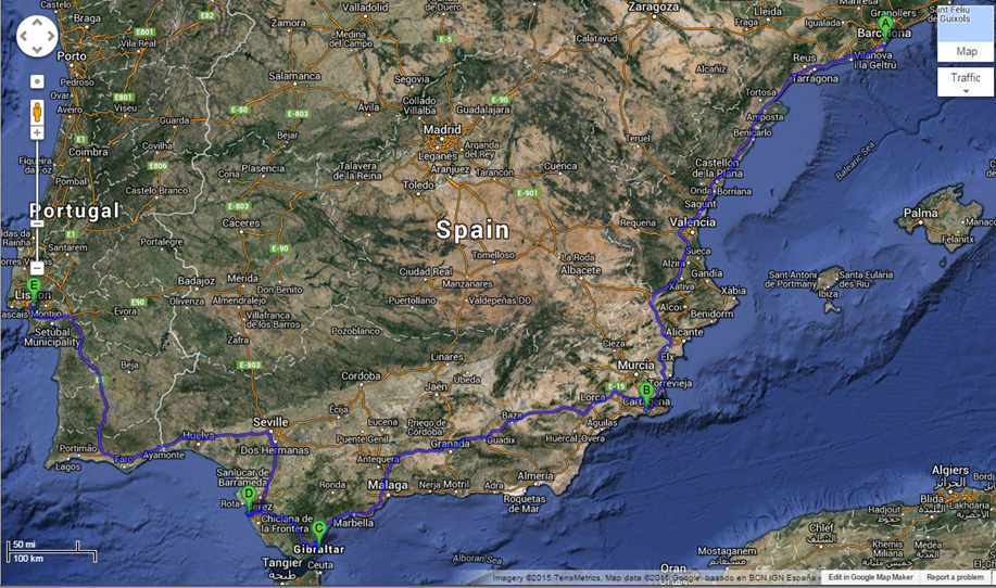 Voyage around the Iberian Peninsula with Viking Ocean Cruises. Photo: Google Maps.