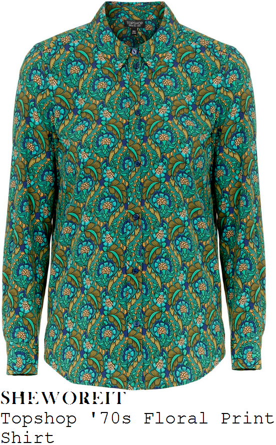 holly-willoughby-topshop-green-70s-floral-print-shirt