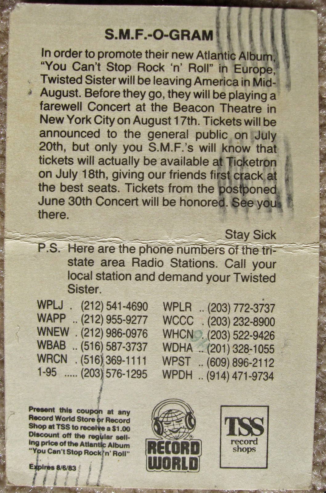 SMF O-Gram that was mailed to me while I was in the navy down in Virginia. Even though I was away from the Tri-State area at the time, had'ta keep in touch with the boyz!!