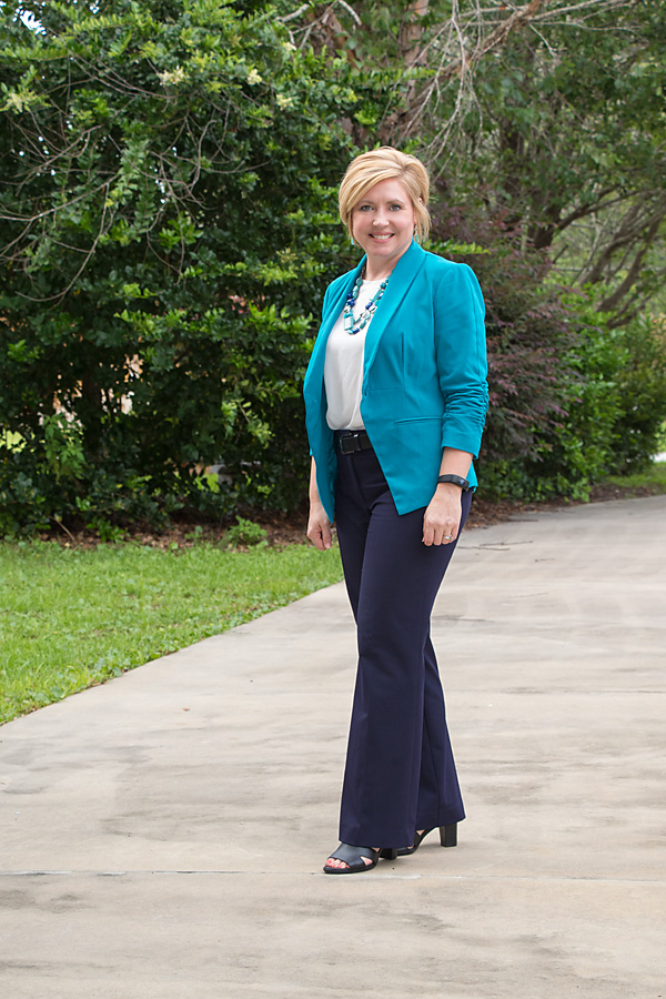 teal and navy, teal and navy office outfit, office wear
