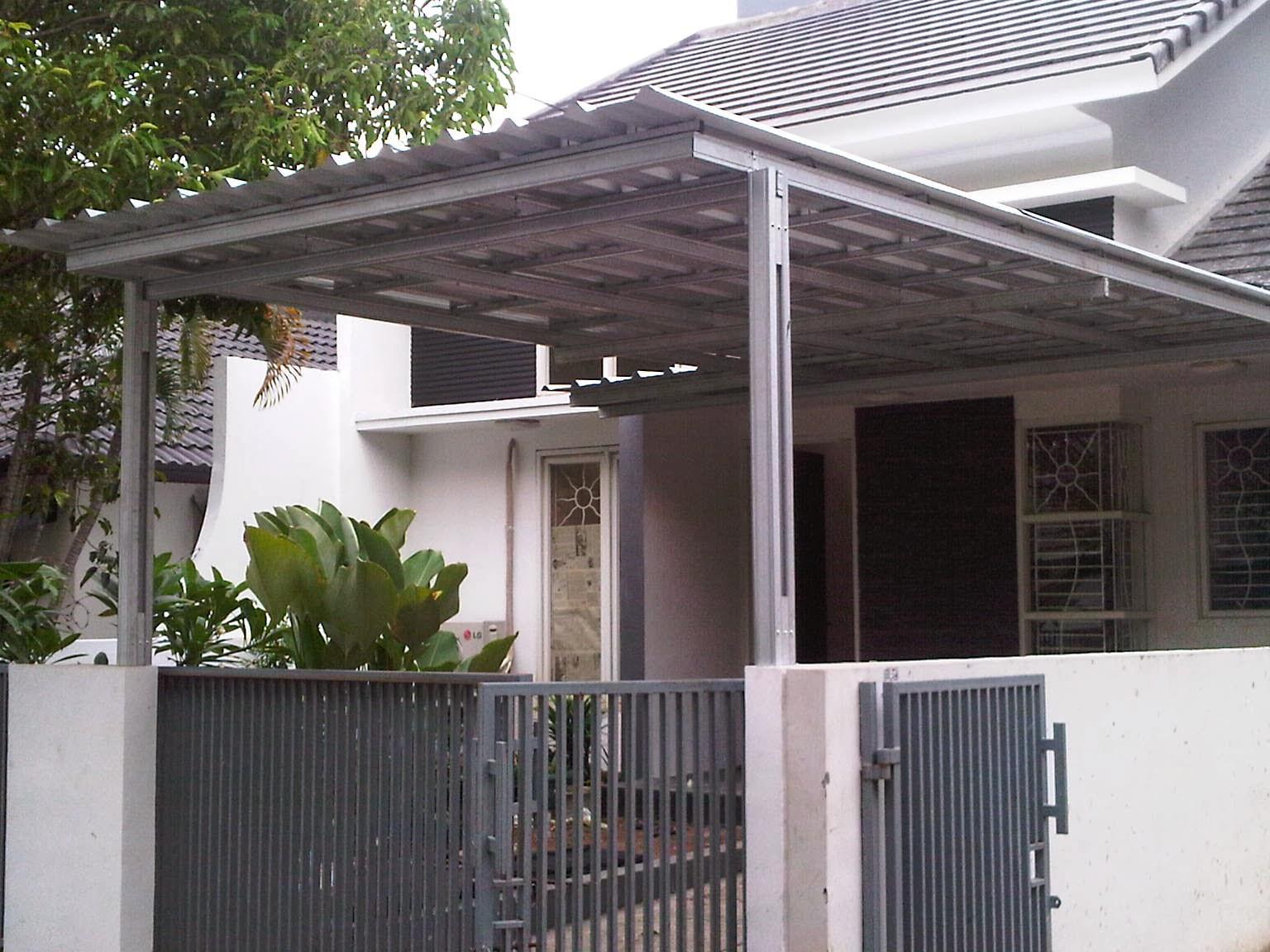 contoh rangka atap baja ringan minimalis kanopi