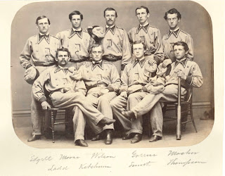 A photograph of the 1866 baseball team.