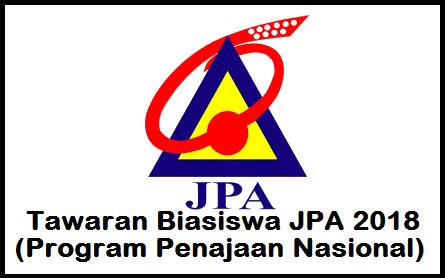Tawaran Penajaan Biasiswa Jpa 2018 Program Penajaan Nasional Mypendidikanmalaysia Com