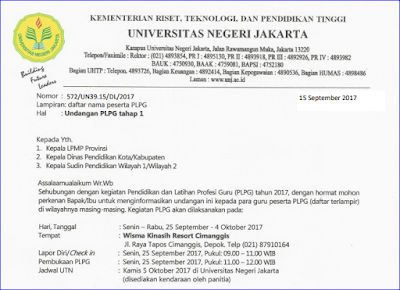 Daftar Peserta dan Undangan PLPG Tahap I Tahun 2017 Rayon 109 Universitas Jakarta (UNJ)