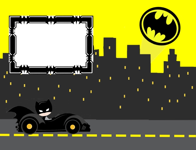 Batman in Black and Yellow, Free Printable Invitations, Labels or Cards.