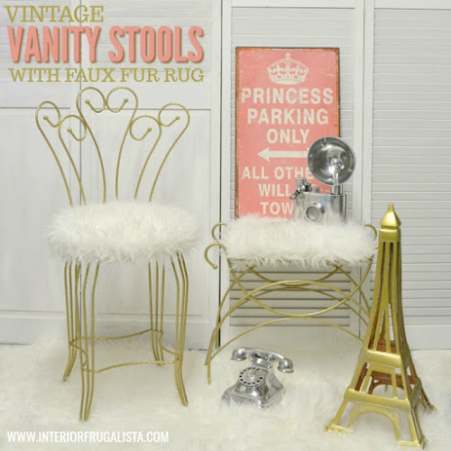 A quick way to add glam to stinky old vanity stools