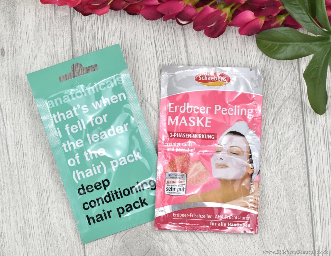 Pink Box Mai 2017 - Inhalt - Anatomicals Haarmaske und Schaebens Erdbeer Peeling Maske