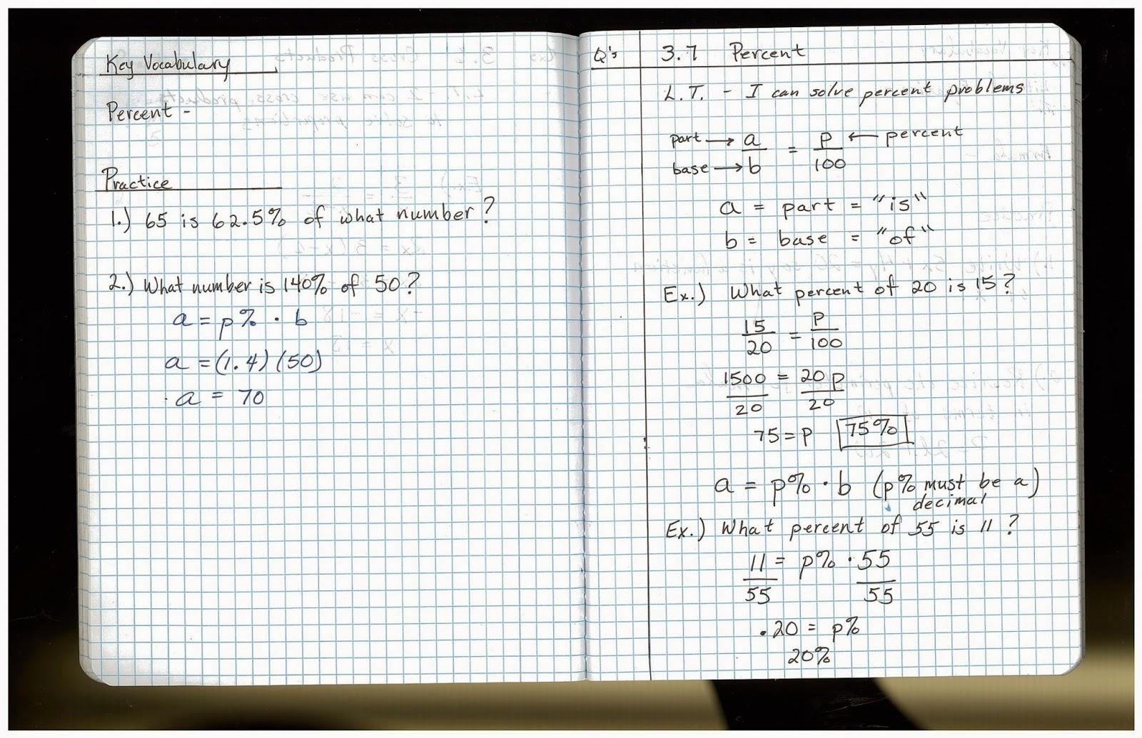 8th Grade Math Class Notes