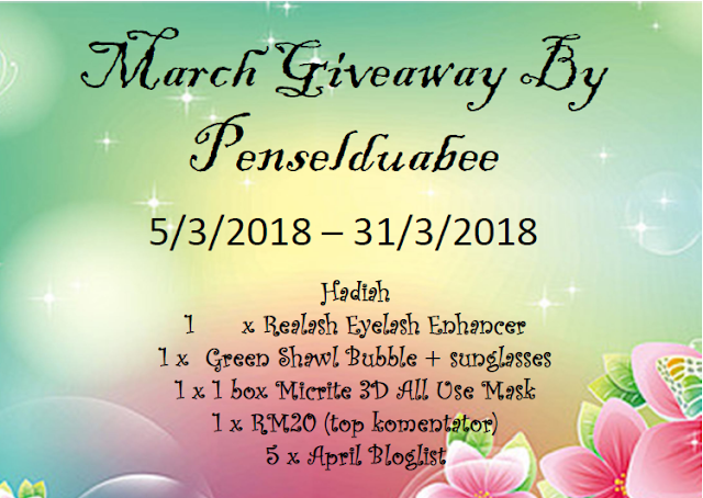 http://penselduabee.blogspot.my/2018/03/march-giveaway-by-penselduabee.html