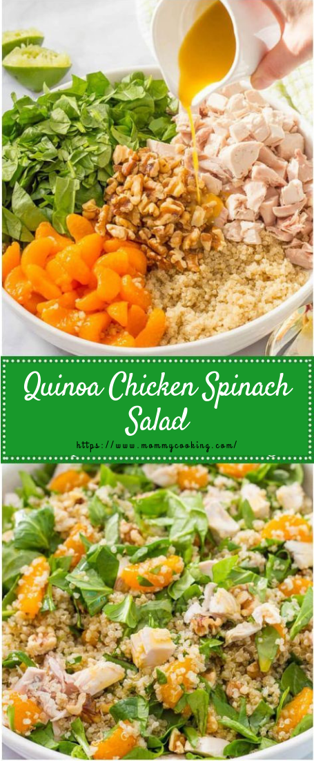 Quinoa chicken spinach salad #vegetarian #vegansalad