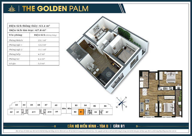 Căn B1 - 63m - The Golden Palm