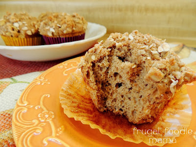 These soft & fluffy Banana Spice Streusel Muffins with a crunchy oatmeal-walnut topping start with a cake mix.