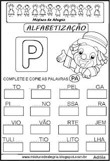 Atividades de alfabetização letra P