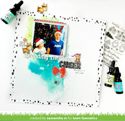 Spreading Christmas Cheer Layout by Samantha Mann for Lawn Fawn's Fawny Holiday Week, Lawn Fawn, Scrapbook, Layout, Christmas, Mixed Media, Watercolor #scrapbook #layout #christmas #lawnfawn #fawnyholidayweek #mixedmedia