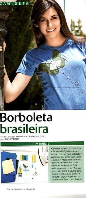 CAMISETA BORDADA COM BORBOLETA DO BRASIL PASSO A PASSO