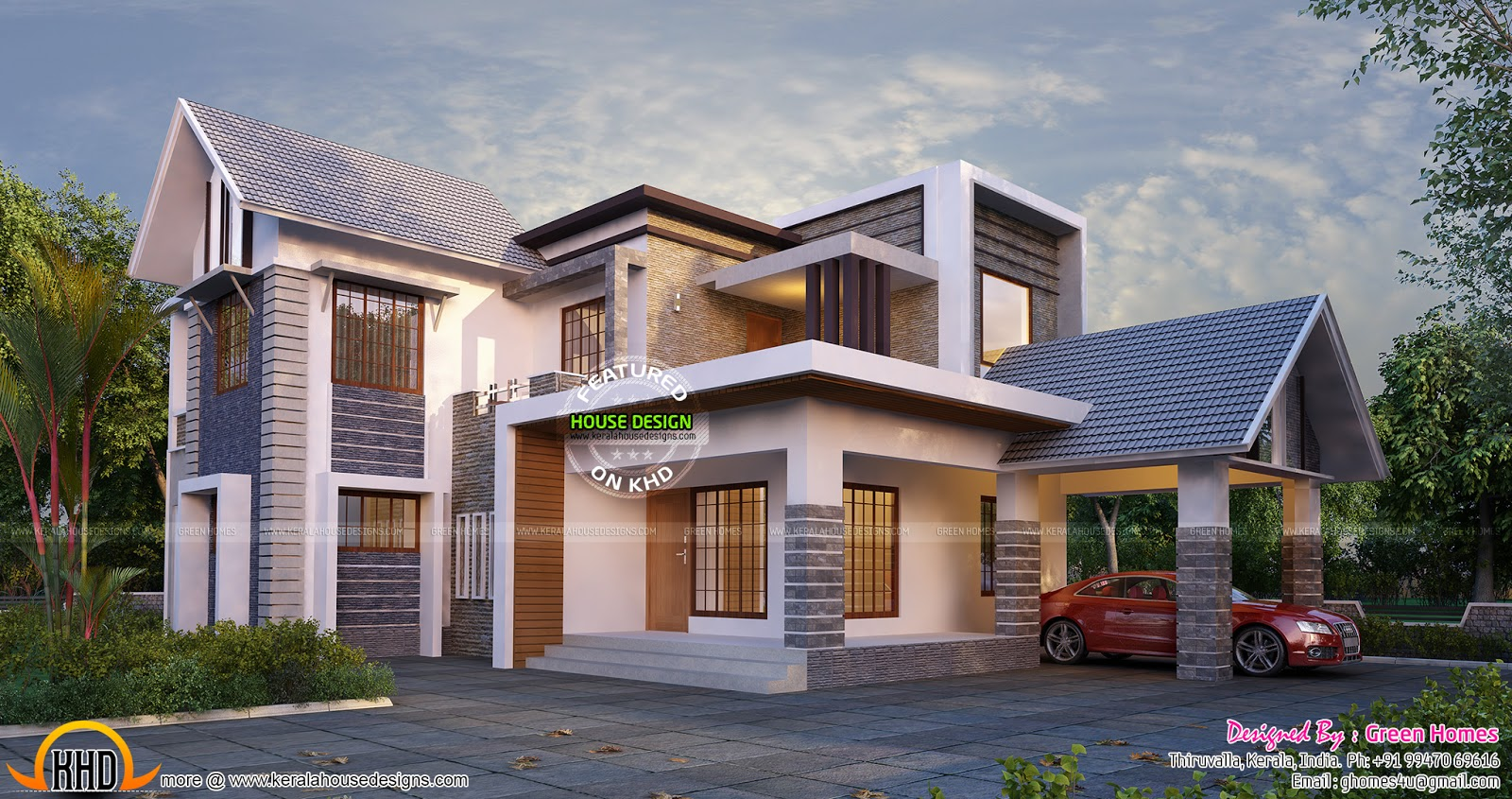 New and stylish house plan Kerala home