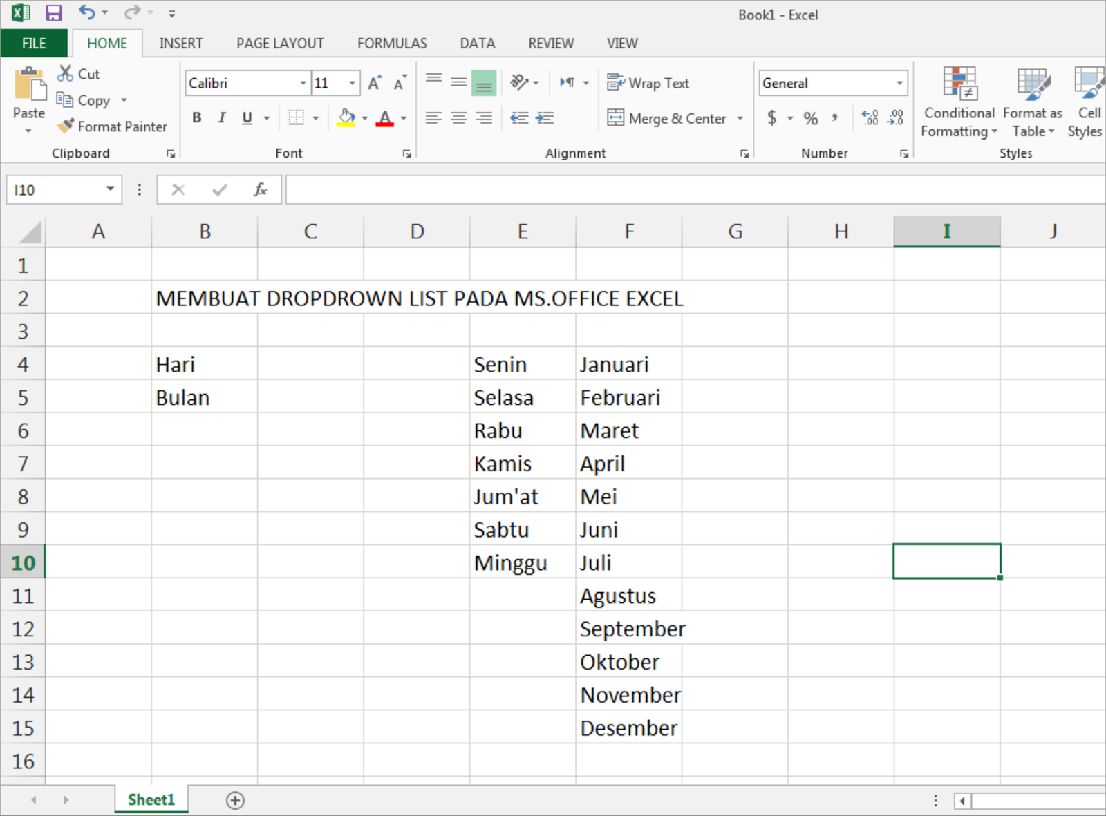 Dropdown List Microsoft Office Excel