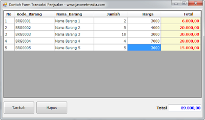 Download Source Code Contoh From Transaksi Penjualan VB .NET