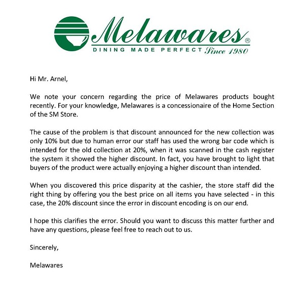 Melawares statement SM discrepancies issue