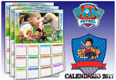 Calendário 2017 PSD e PNG - Patrulha canina