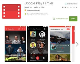 Google Play Filmler (Google Play Movies) Türkiye'de hizmete sunuldu