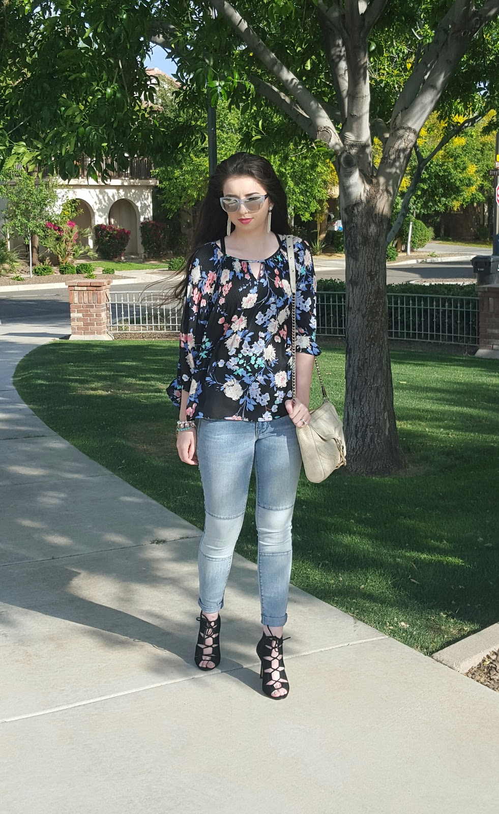pastel florals and lace up sandals- Spring fashion