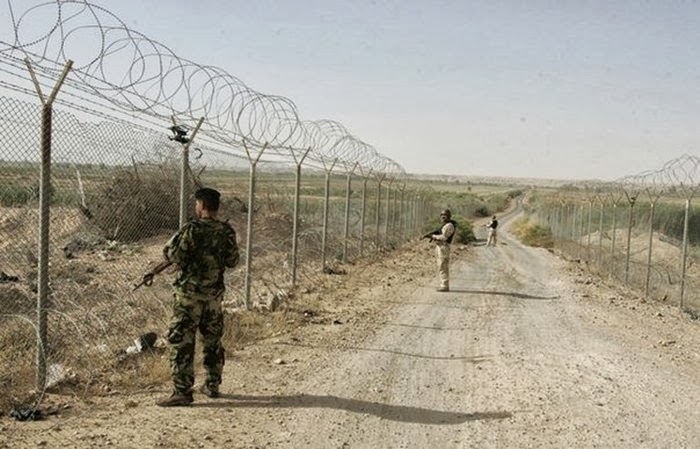 Syria and Iraq Country Border Barbed Wire Line