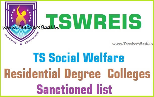 TS Social welfare,Residential Degree Colleges list,TSWREIS