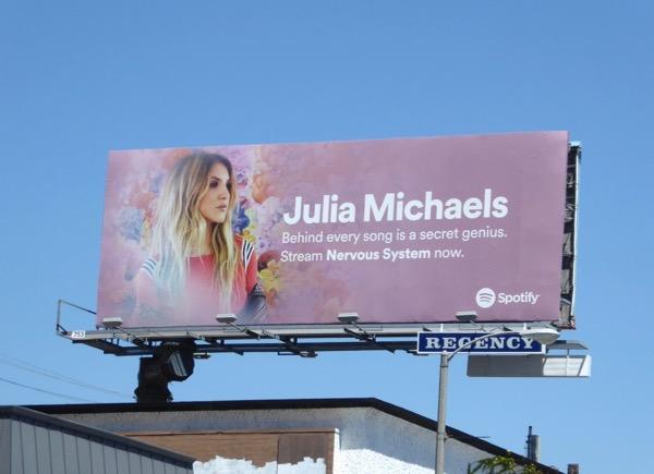 Julia Michaels Nervous System Spotify billboard