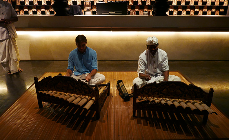 Euriental | fashion & luxury travel | Alila Soori, gamelan playing in Cotta restaurant, Bali